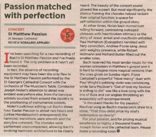 review - bachs st matthew passion - the west 8.4.14